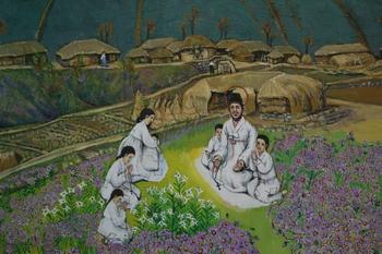 순례자 성당 내부의 최경환 성인 가족 모습을 담은 성화.