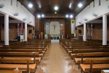 1984년 한국 선교 200주년 기념성당으로 건립된 새 성당 내부.