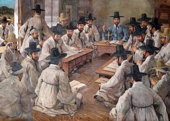 명례방 초기 천주교 집회 모습.