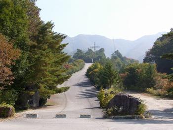 성지 입구 모습. 좌측에 천진성역이란 표지석이 있고, 오르막길 중앙에 대형 십자가가 세워져 있다.