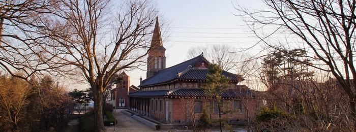 성모동산에서 바라본 성당 전경.